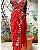 Red soft georgette embroidered mirror kodi work traditional saree