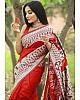 Red soft lichi silk jacquard weaving work party wear saree