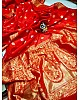 Red soft lichi silk jacquard weaving work wedding saree