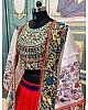 Red soft taffeta silk heavy embroidered lehenga with shrug