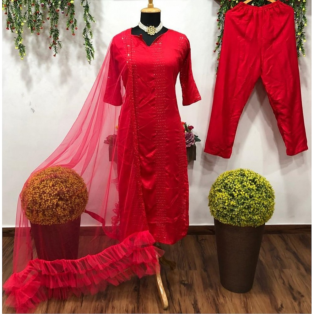 Red thread and sequence work salwar suit