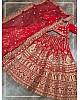 Red velvet heavy embroidered bridal lehenga choli