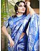 Royal blue soft silk silver zari weaving work wedding saree