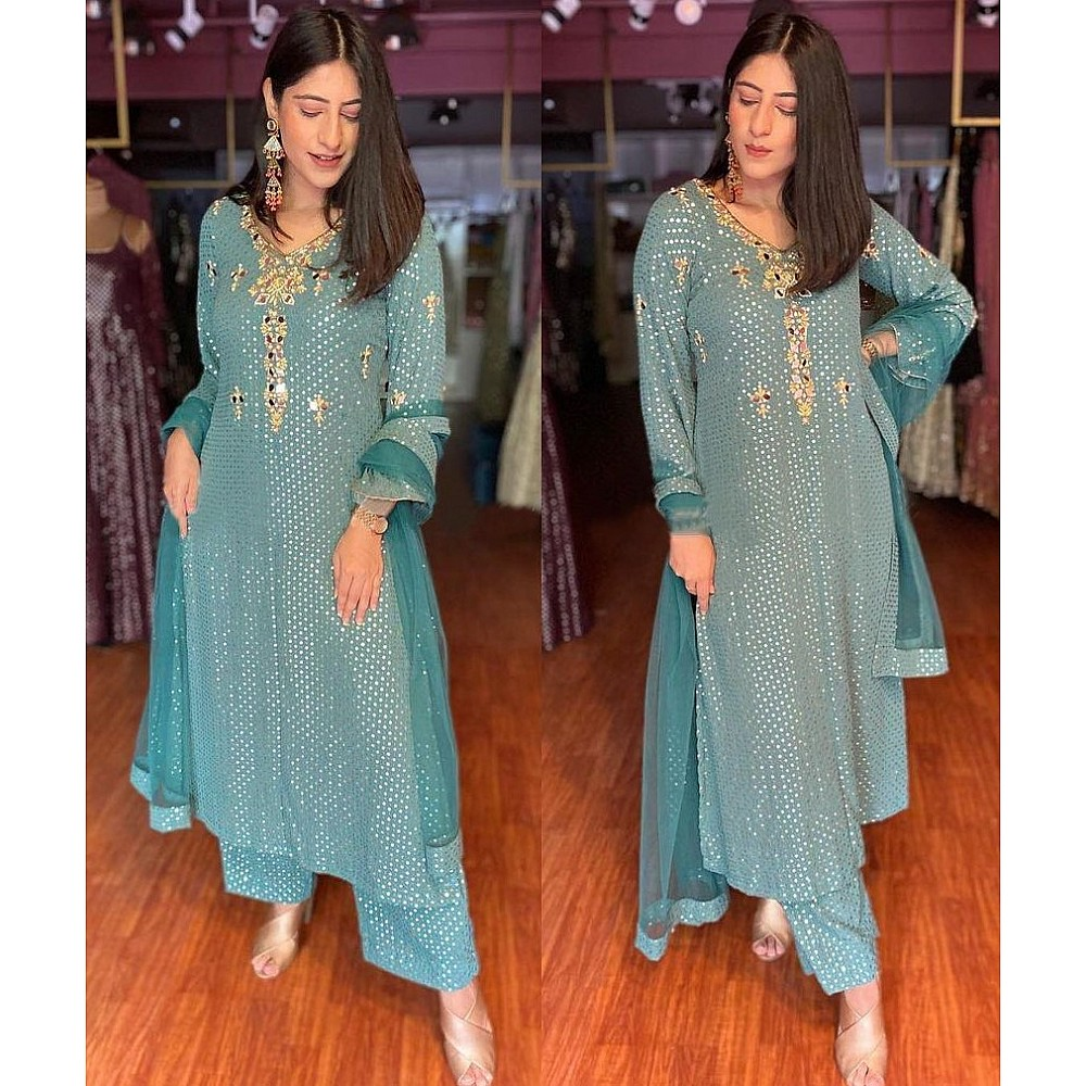 Sea green georgette embroidered with sequence work plazzo suit