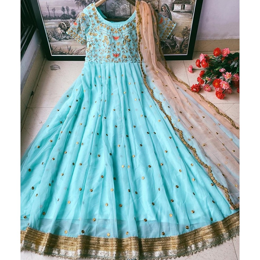 Sea green heavy georgette embroidered work party wear gown