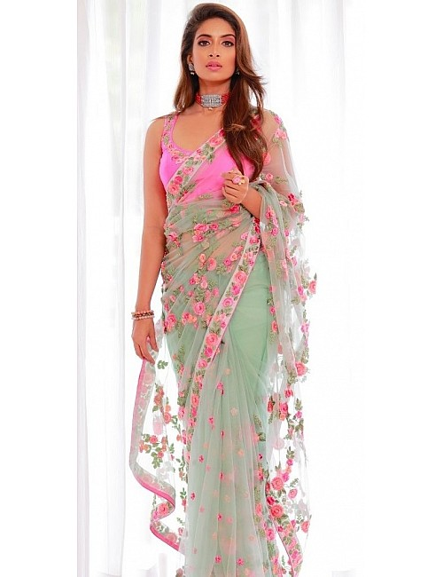 Sea green heavy nylon butterfly embroidered saree