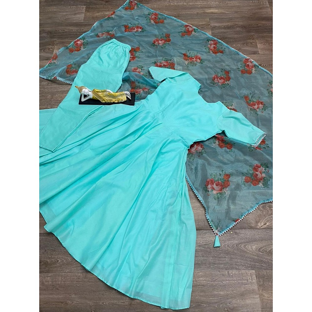 Sea green pc cotton party wear gown with printed dupatta