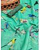Sea green soft cotton digital bird printed work saree
