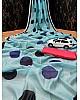 Sky blue cotton chanderi original digital printed work saree