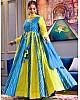 Sky blue heavy butter silk digital printed work party wear gown