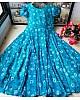 Sky blue heavy georgette digital flower printed gown