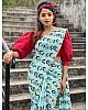 Sky blue heavy georgette digital printed work party wear saree