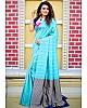 Sky blue soft lichi silk ceremonial saree