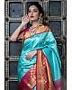 Sky blue soft lichi silk jacquard weaving work ceremonial saree