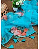 Sky blue soft organza floral printed work saree
