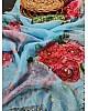 Sky blue soft organza flower printed ceramic stone work saree