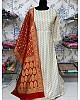 White banarasi jacquard weaving work ceremonial gown
