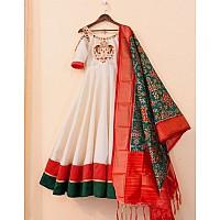 White club cotton anarkali gown with printed silk dupatta