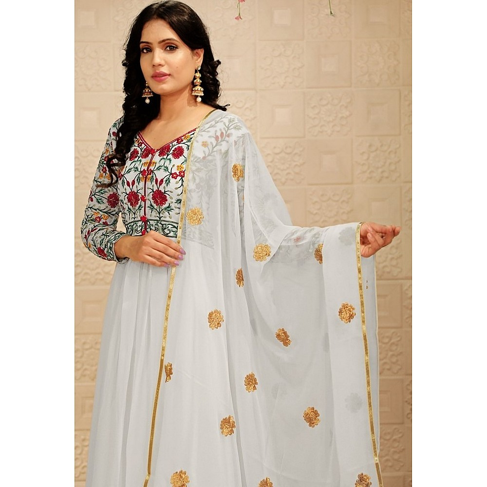 White georgette embroidered thread work party wear gown