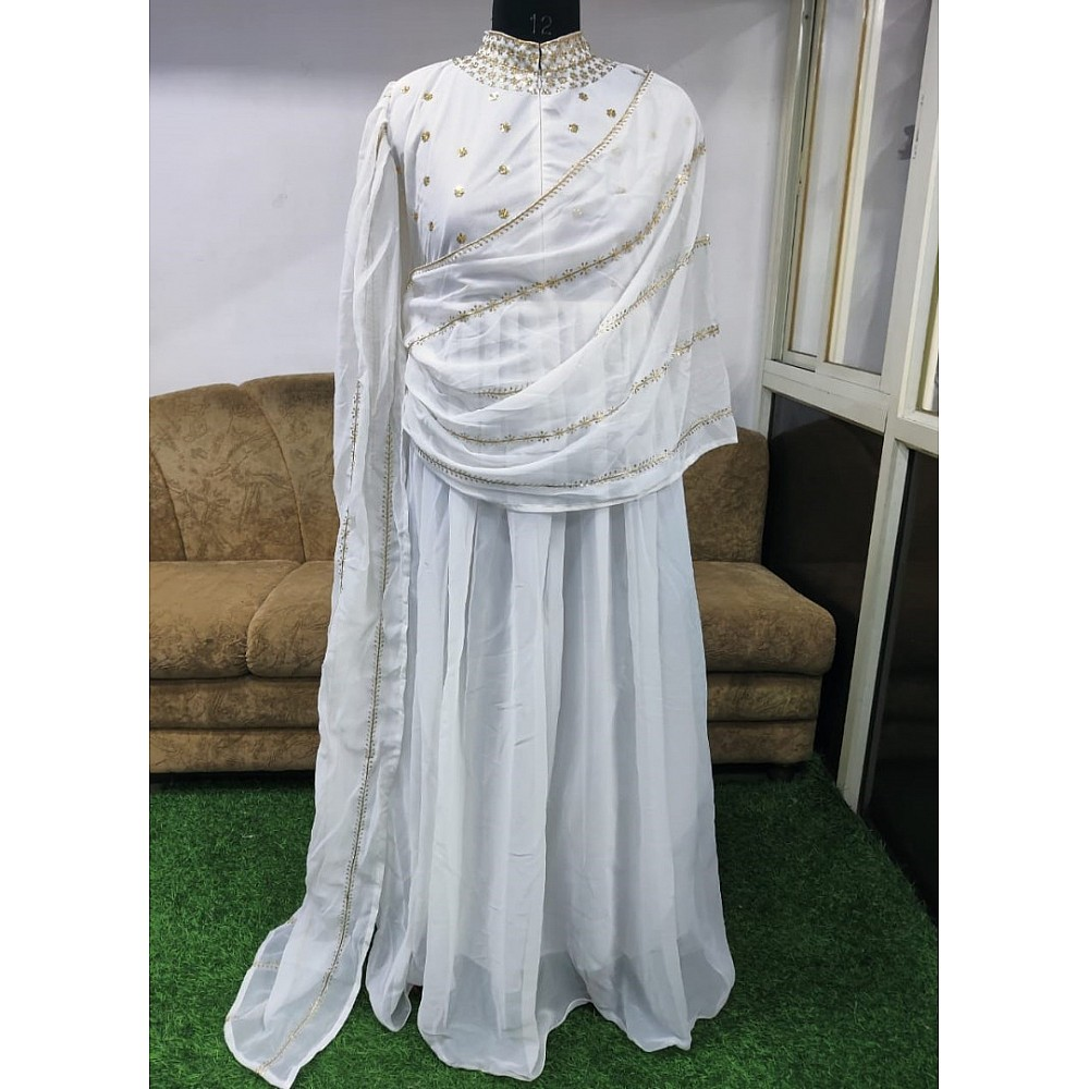 White georgette thread zari with sequence work party wear gown