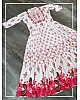 White heavy maslin cotton printed gown