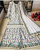 White heavy soft butter silk digital printed work sharara suit
