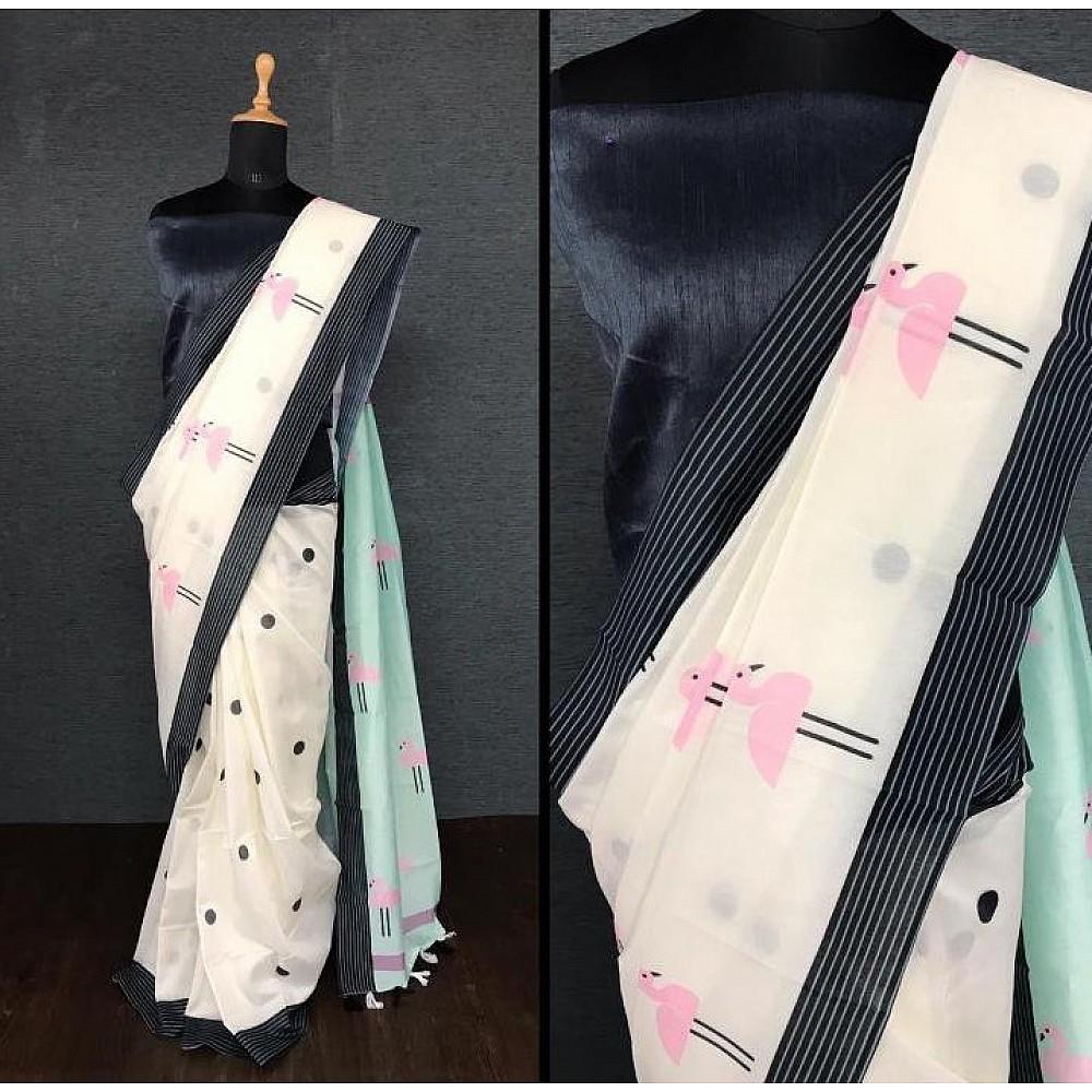 White imported cotton digital printed work saree