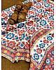 White linen silk digital printed work saree