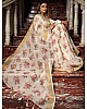 White original linen digital printed work saree