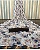 White soft linen zari weaving digital printed work saree