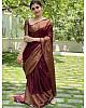 Wine banarasi kota silk jacquard weaving work wedding saree