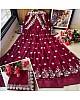 Wine heavy georgette zari embroidered work party wear gown