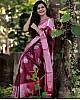 Wine soft lichi silk jacquard weaving border work saree