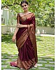 Wine soft lichi silk jacquard weaving work wedding saree