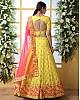 Yellow art silk sequence thread embroidered bridal lehenga choli