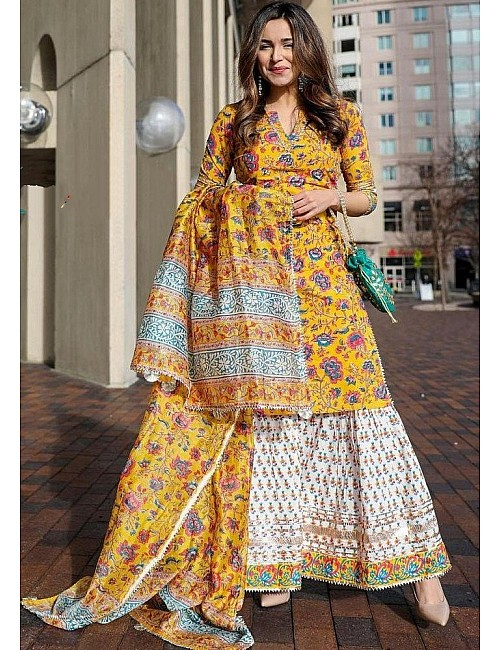 Yellow crepe silk digital floral printed work party wear plazzo suit