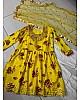 Yellow crepe silk digital printed thread and paper work sharara suit