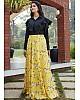 Yellow crepe silk flower printed party wear crop top lehenga