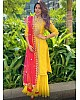 Yellow georgette embroidered plazzo salwar suit