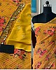 Yellow georgette heavy sequence flower printed saree