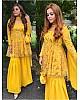 Yellow georgette sequence work sharara salwar suit