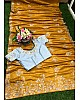 Yellow georgette silk thread work saree