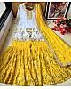 Yellow georgette zari embroidered work plazzo suit