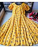 Yellow heavy butter silk digital printed work party wear gown