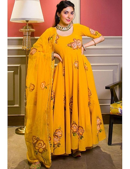 Yellow heavy georgette digital floral printed party wear gown