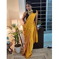 Yellow japan satin ready to wear plain partywear saree