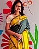 Yellow lichi silk jacquard weaving work saree