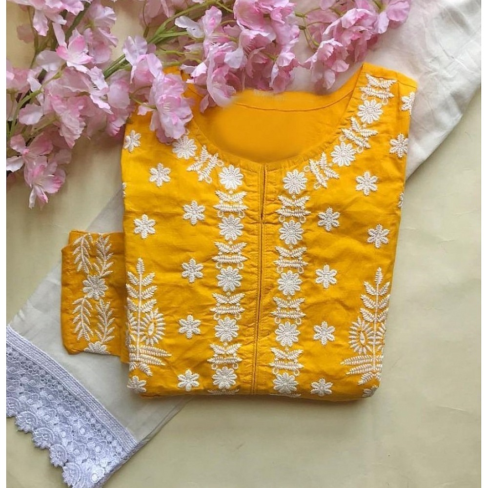 Yellow muslin cotton embroidered with moti work plazzo suit