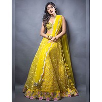 Yellow net sequence and thread embroidered ceremonial lehenga choli