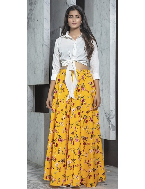 Yellow rayon flower printed party wear crop top